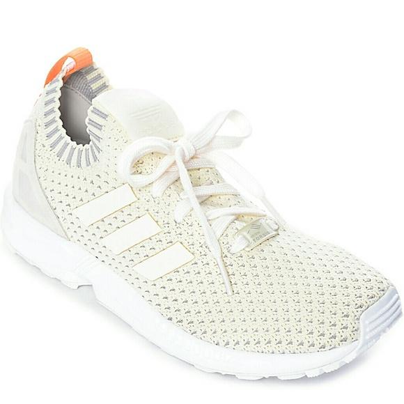 best loved bff70 6d8ec adidas ZX Flux Cream White Primeknit Sneakers 8.5